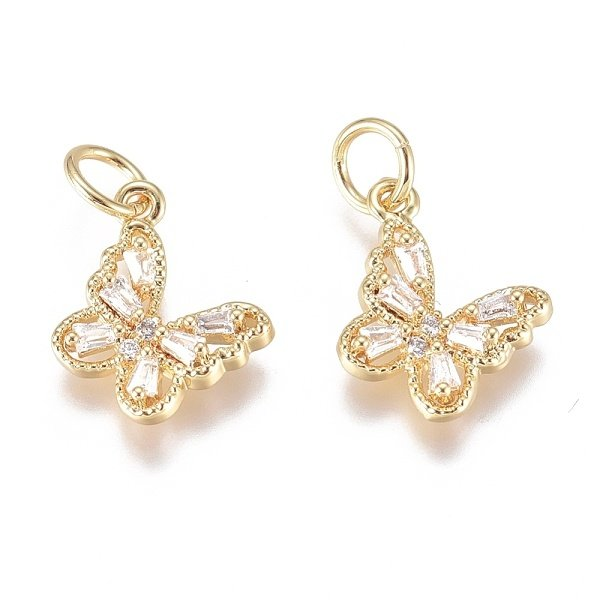 Luxurious Brass Charm Gold with Zirconia 10x11mm Butterfly