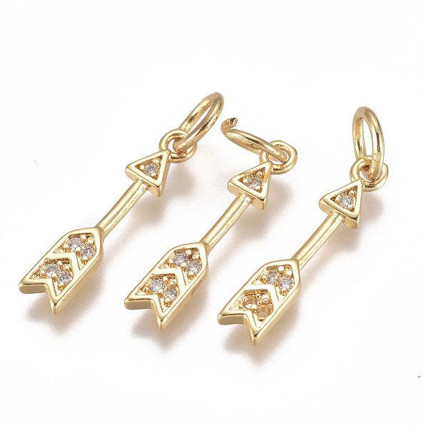 Luxurious Brass Charm Gold with Zirconia 17x3mm Arrow