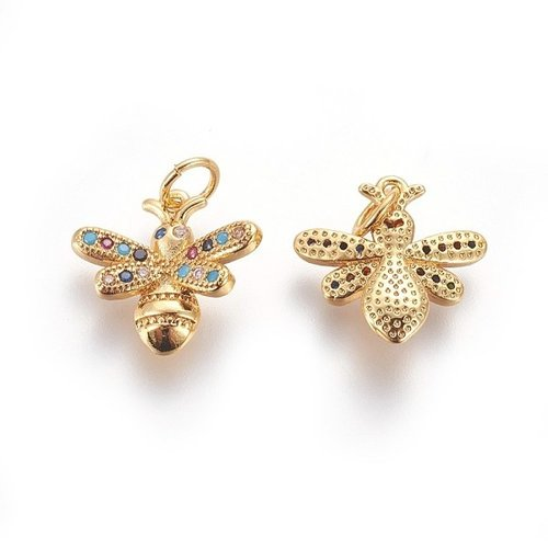 Charm with Zirconia 14x15mm Bee
