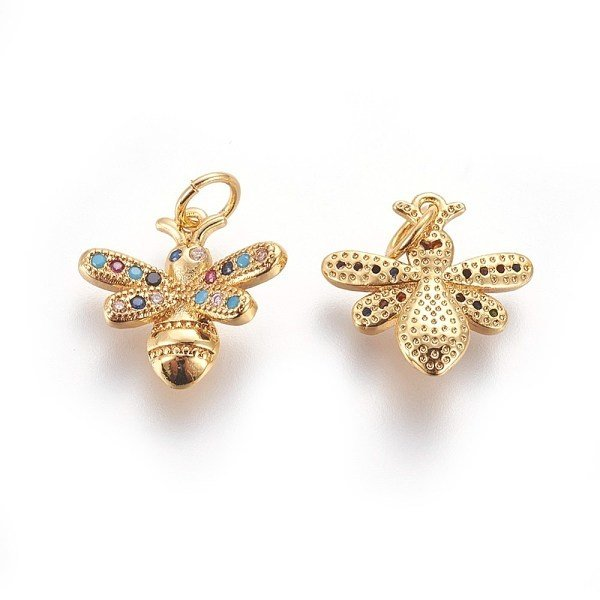 Luxurious Brass Charm Gold with Zirconia 14x15mm Bee