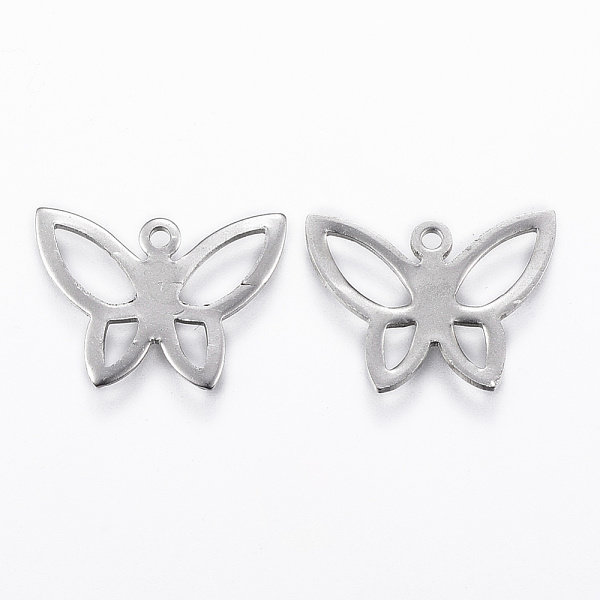 Stainless Steel Butterfly Charm with Silver 14x18mm, 4 pieces
