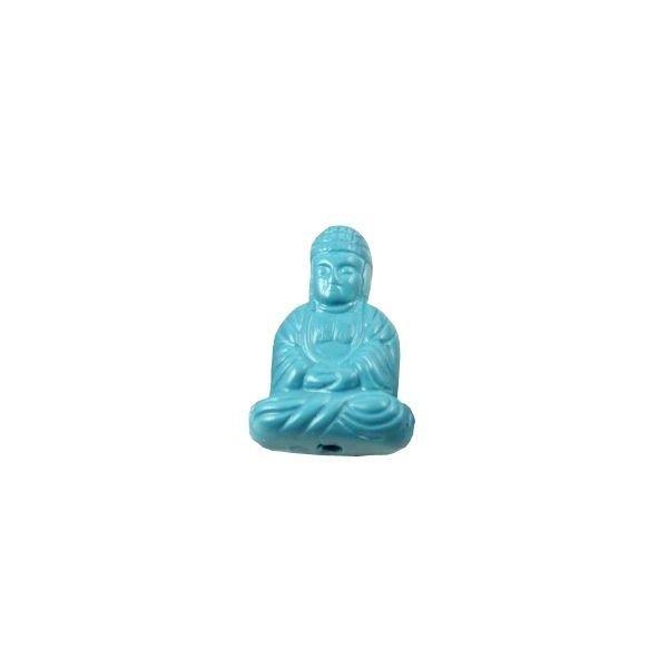 Buddha Kraal Acryl Aqua Blauw 20x13mm, 3 stuks