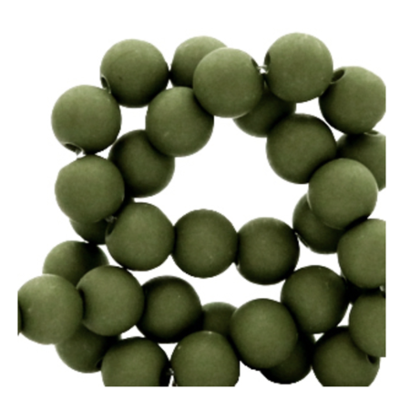 100 pieces Matte Green Acrylic Beads 6mm