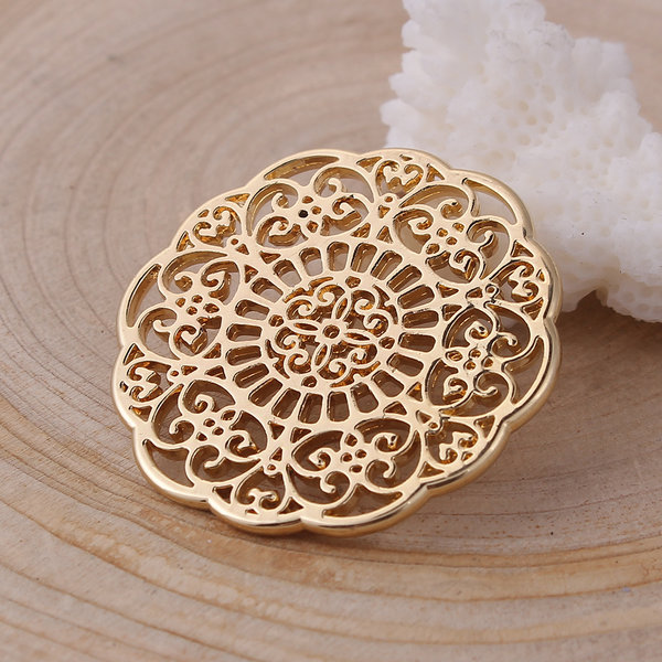 3 pieces Flower Connector Gold 31x31mm