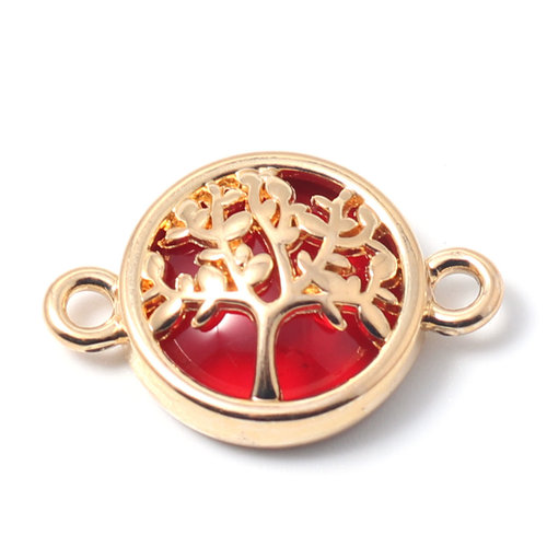 3 pieces Connector Tree Gold Plated Red 20x13mm