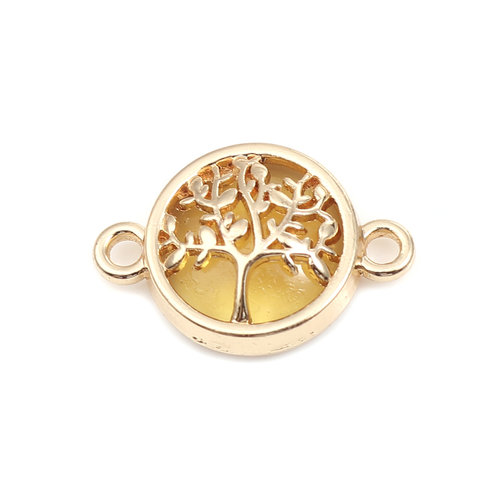 3 pieces Connector Tree Gold Plated Yellow 20x13mm