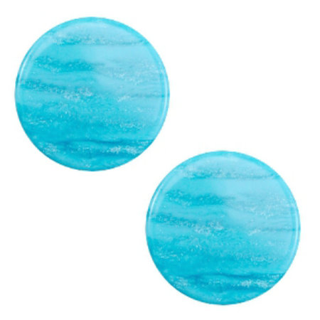 Polaris Cabochon Flat 20mm Sparkle Aqua Blue