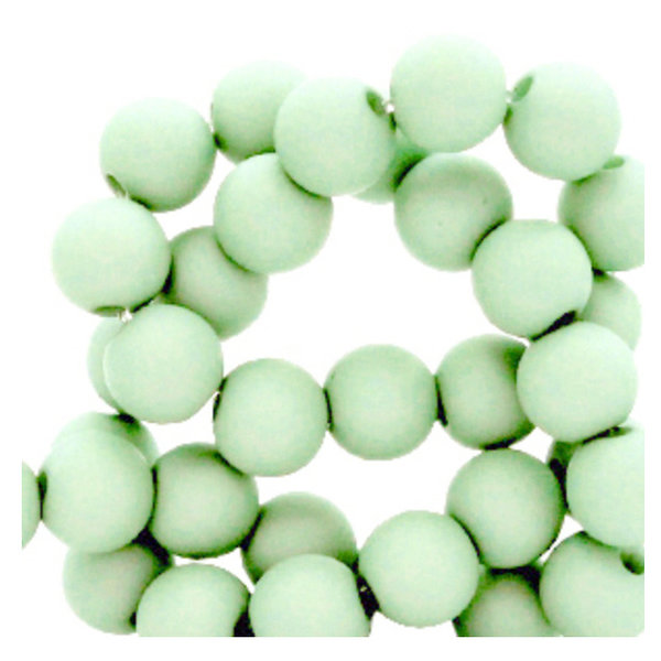 100 pieces Matte Mint Green Acrylic Beads 6mm
