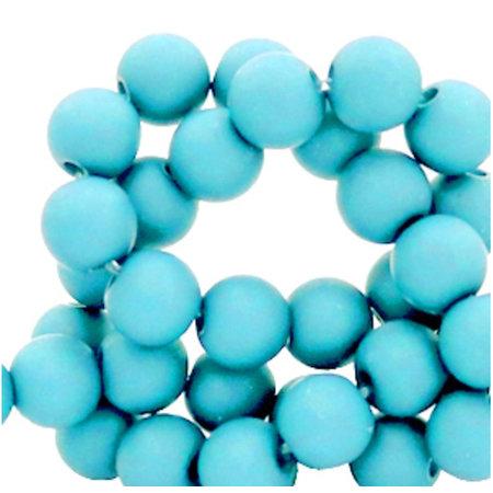 100 pieces Matte Aqua Blue Acrylic Beads 6mm