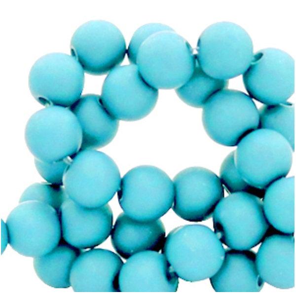 100 stuks Matte Acryl Kralen Aqua Blauw 6mm
