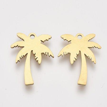 3 stuks Stainless Steel Palmboom Bedel 17x13mm Goud