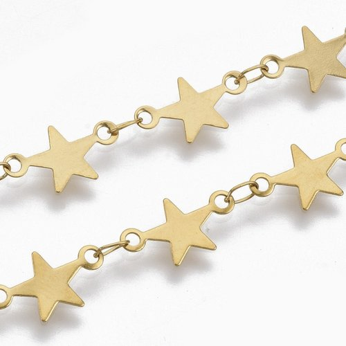 1 meter Stainless Steel Chain with Star Links 7mm Golden