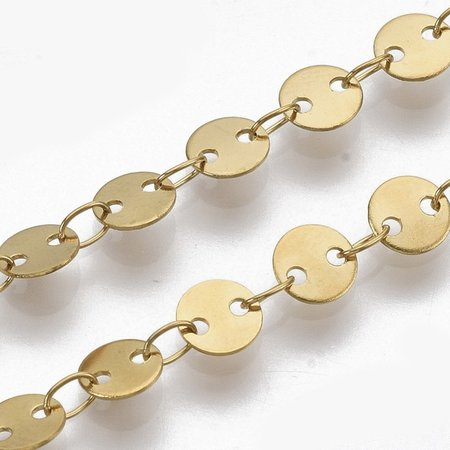 1 meter Stainless Steel Chain with Round Links 5mm Golden