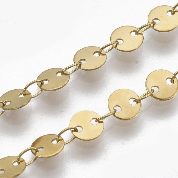 Stainless Steel Chain with Round Links 5mm Golden, 1 meter