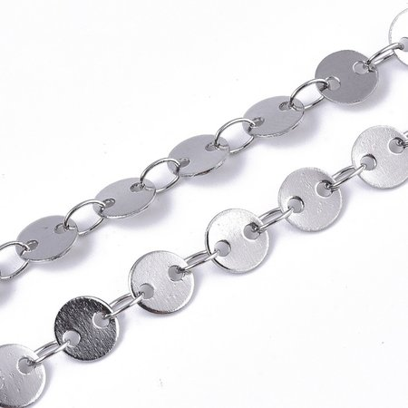 1 meter Stainless Steel Chain with Round Links 5mm Silver