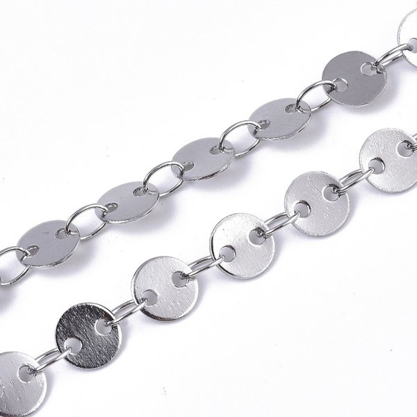 Stainless Steel Chain with Round Links 5mm Silver, 1 meter