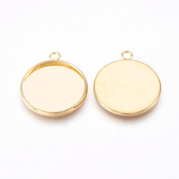 Stainless Steel Charm Gold 26x23mm fits 20mm Cabochon, 3 pieces