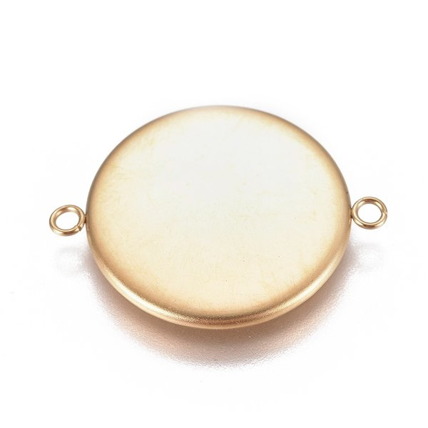 Stainless Steel Link Gold 28x22mm fits 20mm Cabochon, 3 pieces
