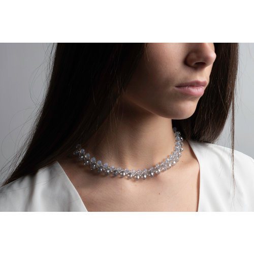 Beadwork Necklace with Crystal Faceted Beads