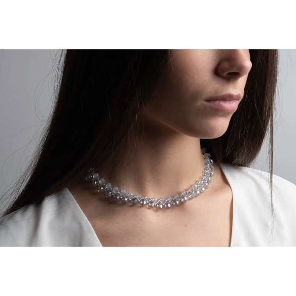 Beadwork Choker Necklace with Crystal Faceted Beads