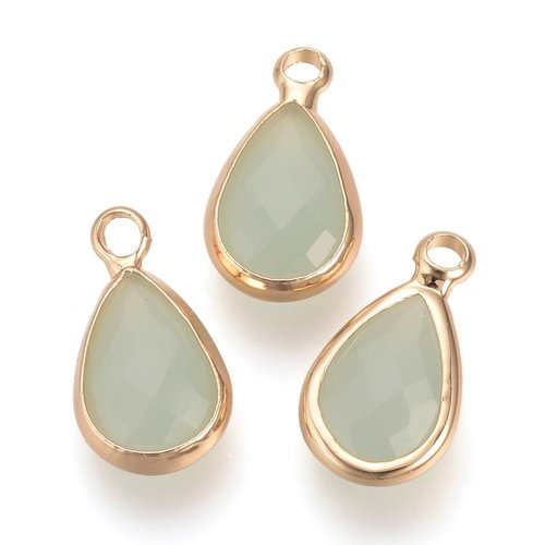 2 pieces Glass Pendant Drop Pale Green 18x10mm