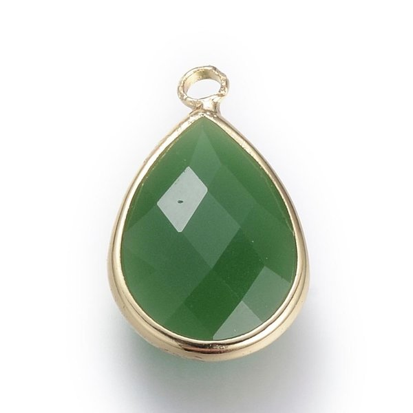 Faceted Glass Pendant Drop Lively Green 18x10mm, 2 stuks