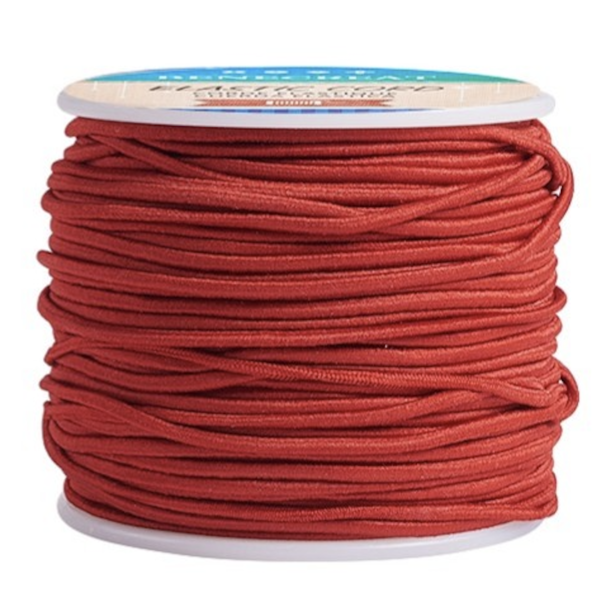 Elastic 2mm Red, 1 meter
