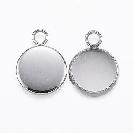 3 pieces Stainless Steel Charm Silver fits 10mm Cabochon