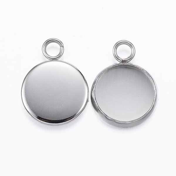 Stainless Steel Charm Silver 15x12mm fits 10mm Cabochon, 3 pieces