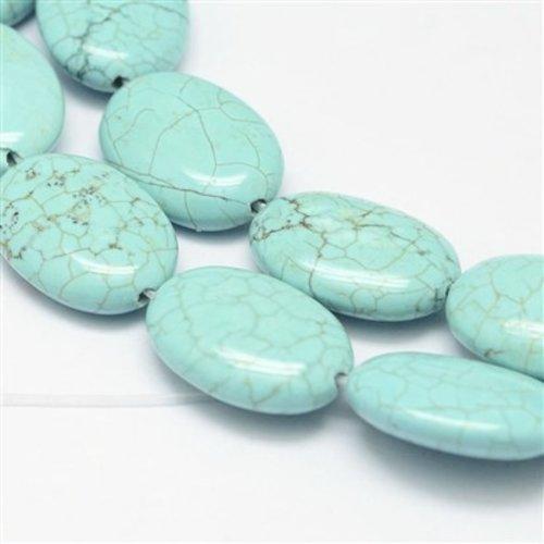 Turquoise Ovalen Kralen 13x18mm, streng 19 stuks