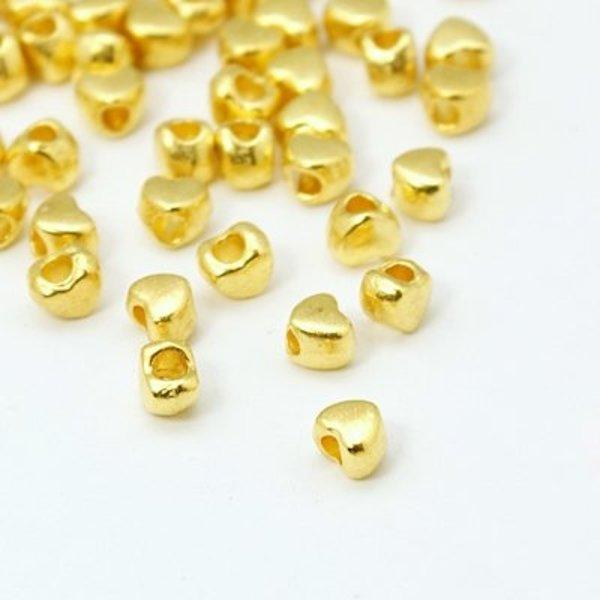 Metal Heart Beads Golden Nickel Free 4x4mm, 20 pieces