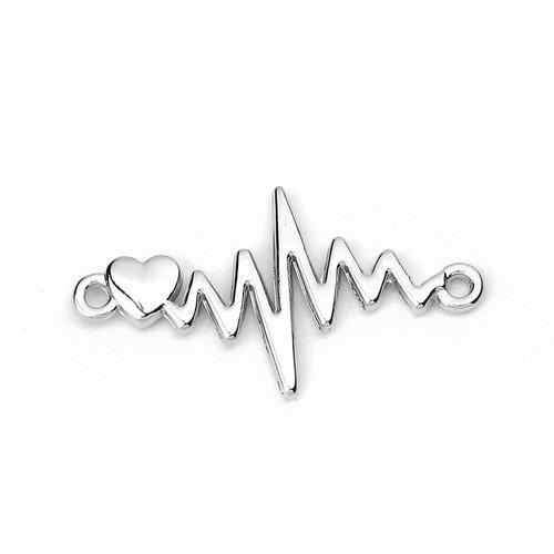 3 stuks Electrocardiogram met Hart Tussenzetsel 31x17mm Zilver