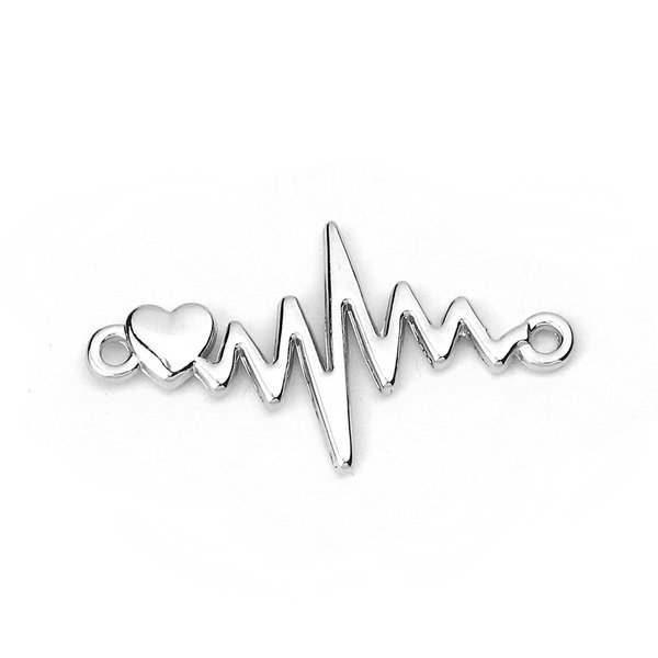 3 pieces Electrocardiogram Heart Beat with Heart Link 31x17mm Silver