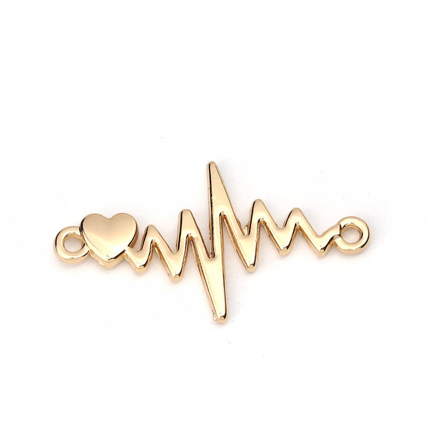 3 pieces Electrocardiogram with Heart Link 31x17mm Goldplated