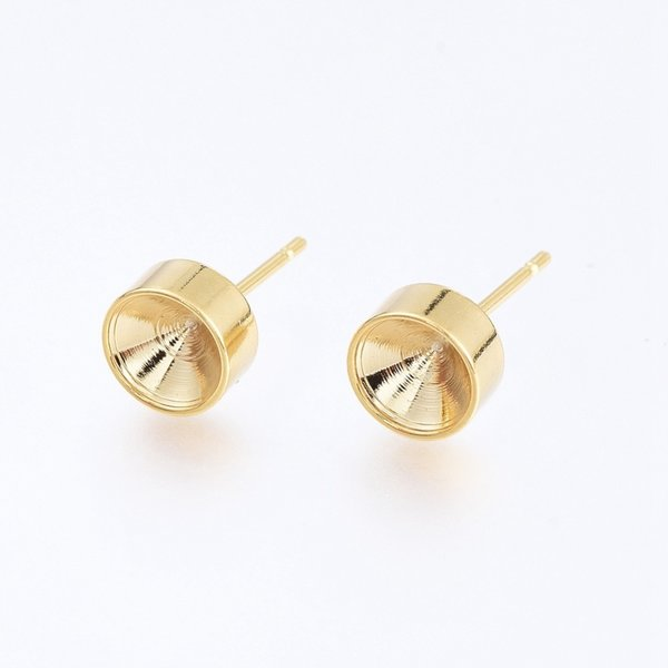 4 pieces Stainless Steel Studs 15x7mm for 6mm/ss29 Rhinestone Gold