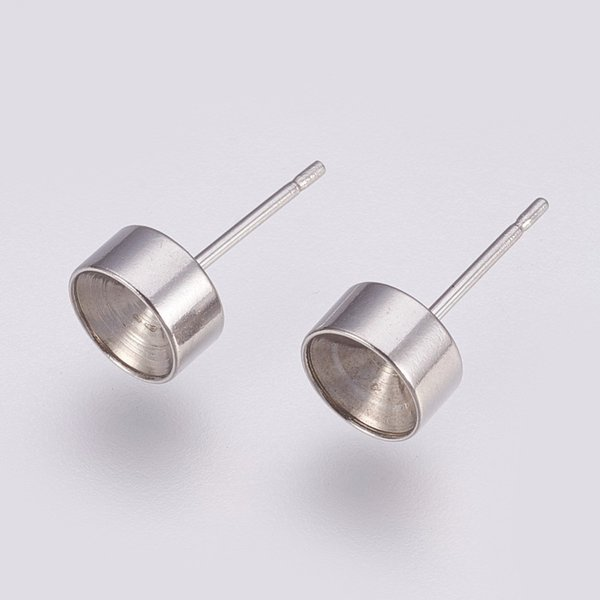 4 pieces Stainless Steel Studs 15x7mm for 6mm/ss29 Rhinestone Silver