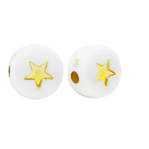 25 pieces Acrylic Bead White with Golden Star 7mm