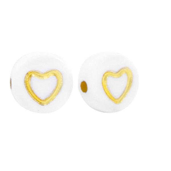25 stuks Acryl Kraal Wit met Gouden Hartje 7mm