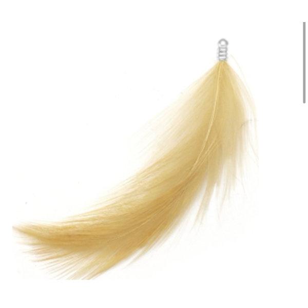 8 pieces Feather Charm Plush 8cm Beige