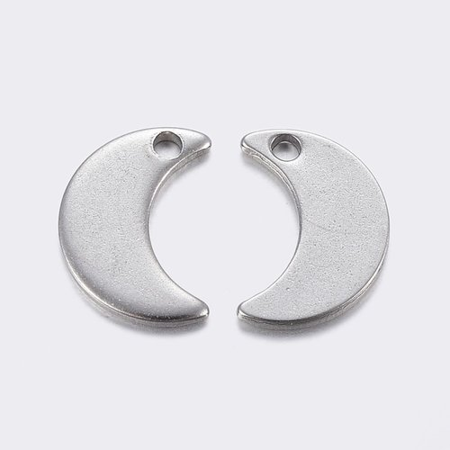 4 pieces Stainless Steel Moon Charm 10x7mm Silver