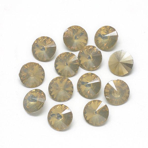 Rivoli Puntsteen 12mm Golden Topaz