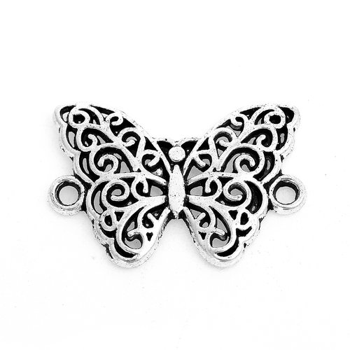 3 pieces Butterfly Connector Silver 20x14mm