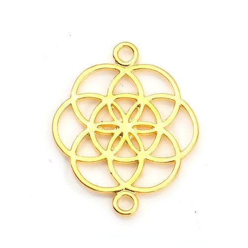 4 pieces Flower of Life Connector Gold Plated 25x20mm