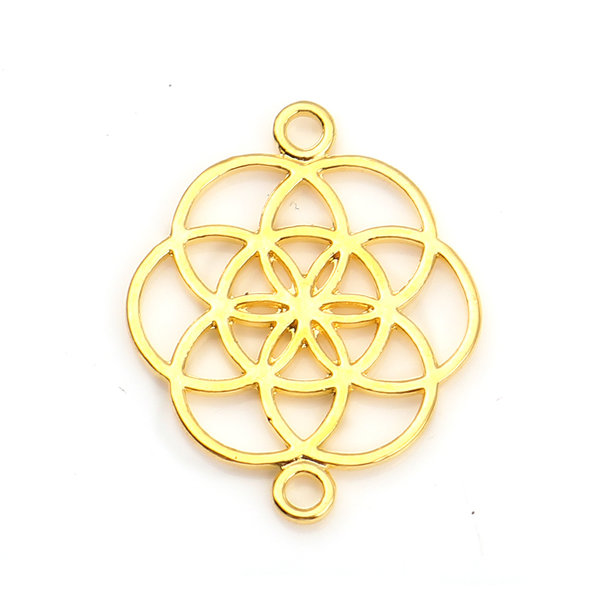 Flower of Life Connector Gold Plated 25x20mm, 4 pieces