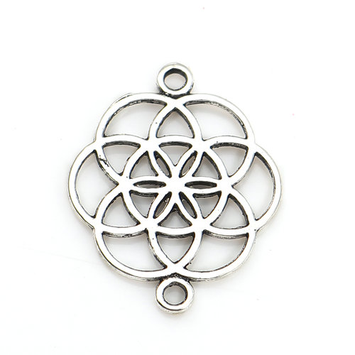 4 pieces Flower of Life Connector Silver 25x20mm