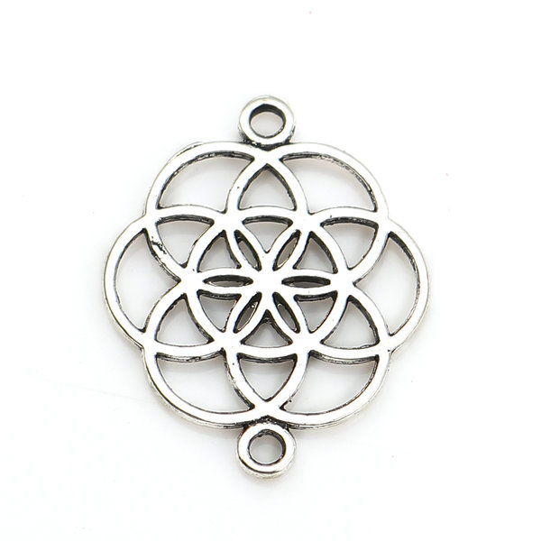 Flower of Life Connector Silver 25x20mm, 4 pieces