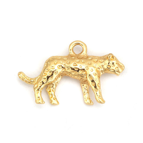 Leopard Charm Gold Plated 25x15mm, 3 pieces