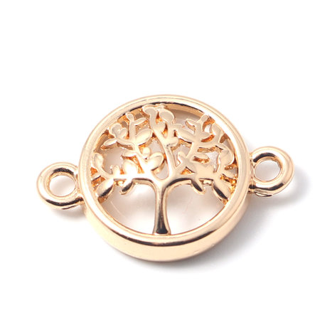 3 pieces Connector Tree Gold Plated Clear 20x13mm