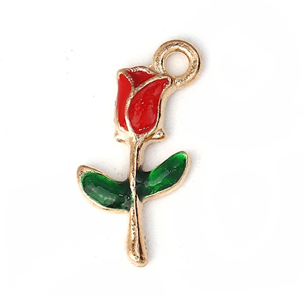 Enamel Rose Charm Gold Plated 19x10mm, 3 pieces