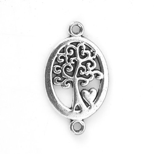 4 pieces Tree with Heart Connector Silver 23x14mm